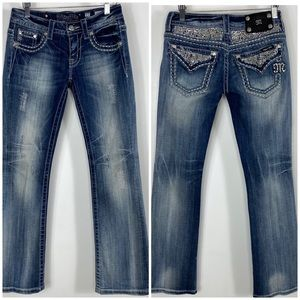 Miss Me distressed boot cut jeans size 27 JE5641BR